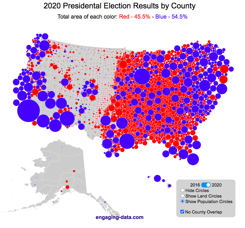 Us Map Voting Results US County Electoral Map   Land Area vs Population   Engaging Data