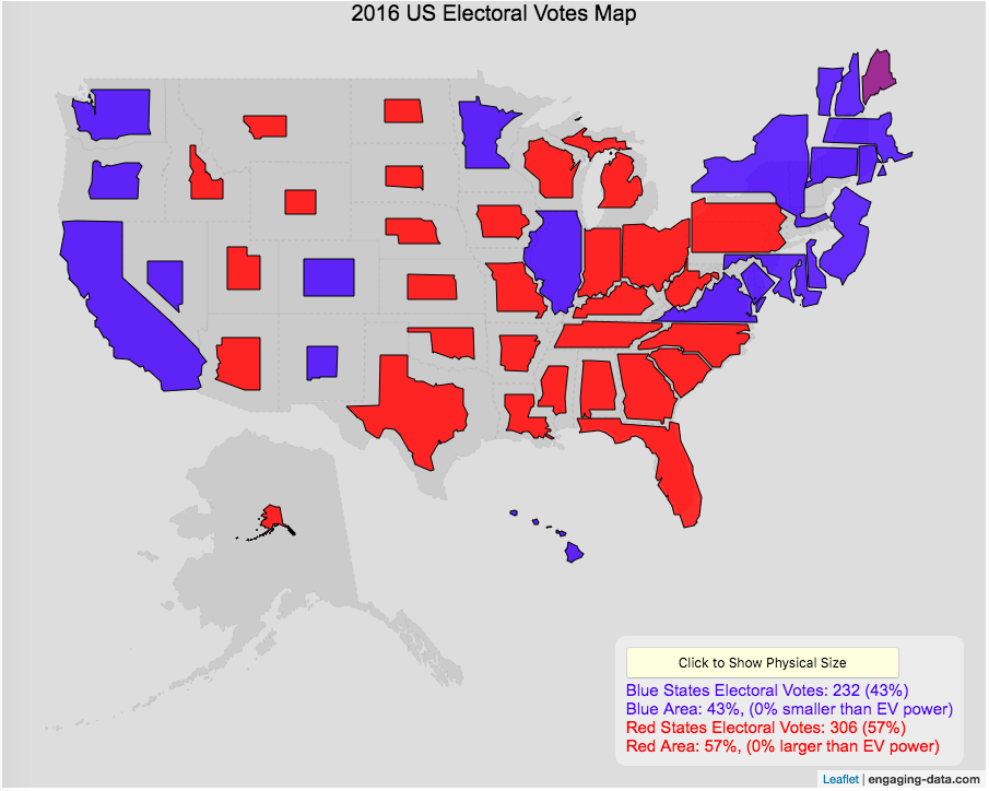 states sized by electoral votes
