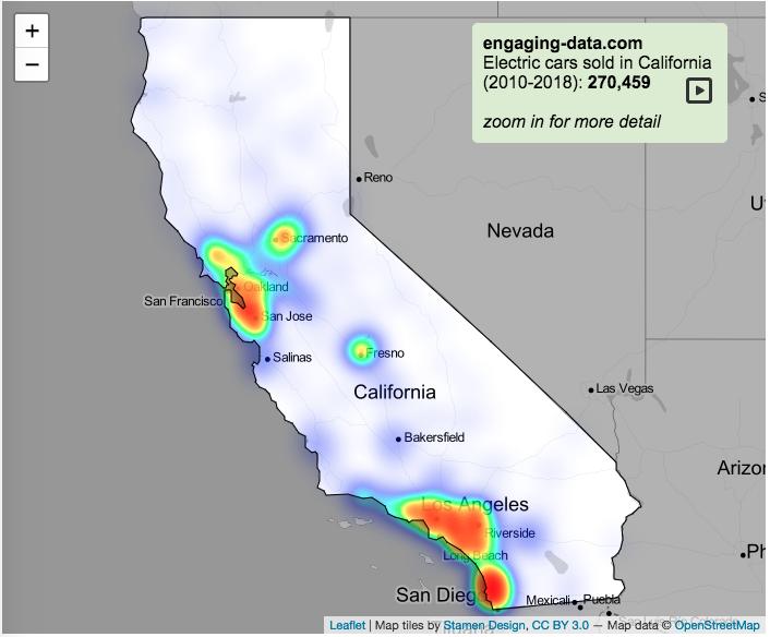electric vehicle heatmap california