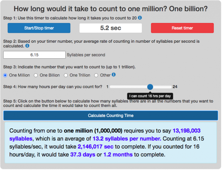 count to one million