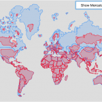 Real Country Sizes Shown on Mercator Projection (Updated)