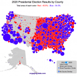 US County Electoral Map – Land Area vs Population