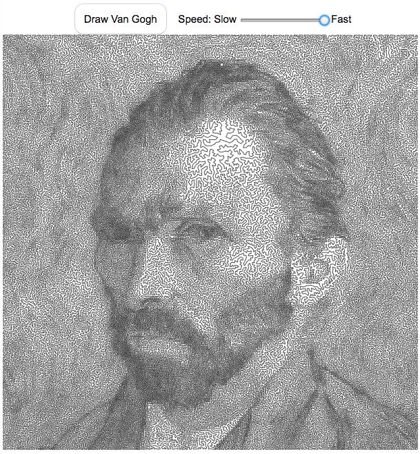 Van Gogh Portrait Line Drawing